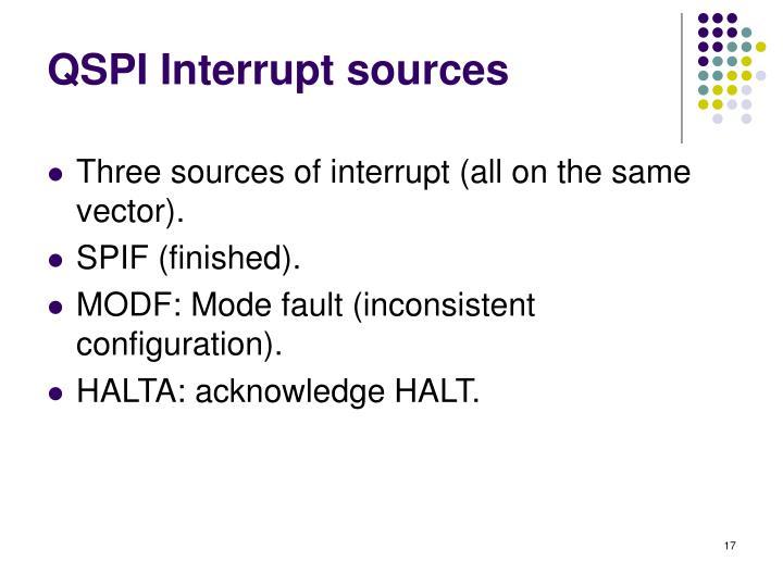 QSPI Interrupt sources