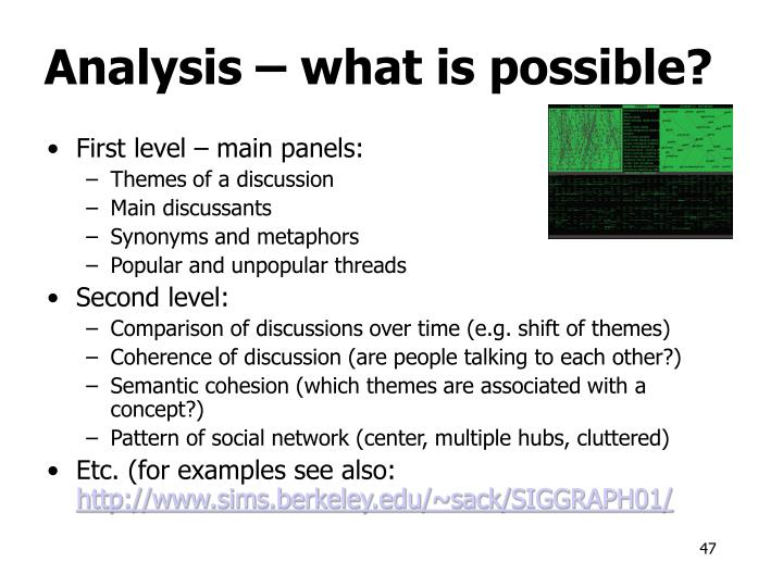 Analysis – what is possible?