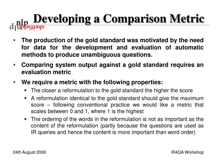 Developing a Comparison Metric