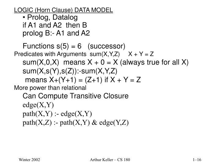 LOGIC (Horn Clause) DATA MODEL