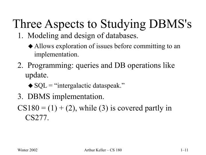 Three Aspects to Studying DBMS's