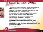 im capacity check pilot at nrcan benefits