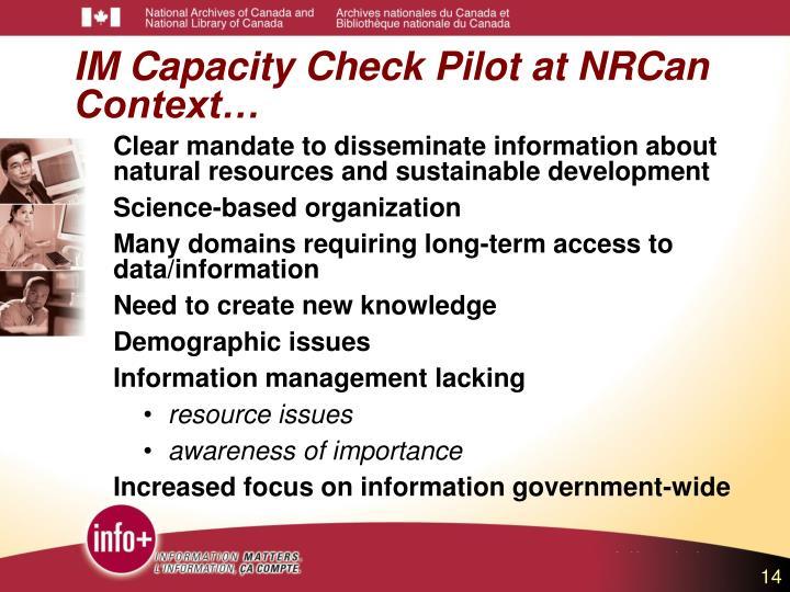 IM Capacity Check Pilot at NRCan