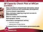 im capacity check pilot at nrcan context