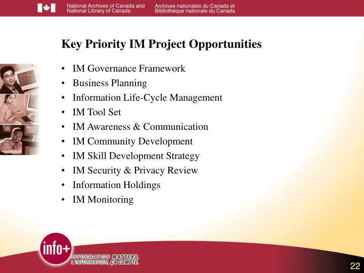 Key Priority IM Project Opportunities