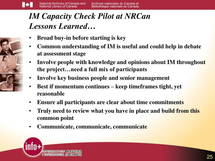 IM Capacity Check Pilot at NRCan