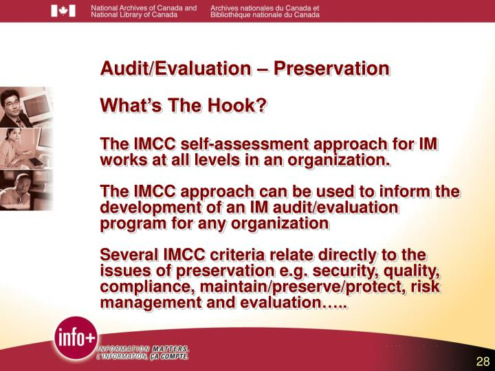 Audit/Evaluation – Preservation