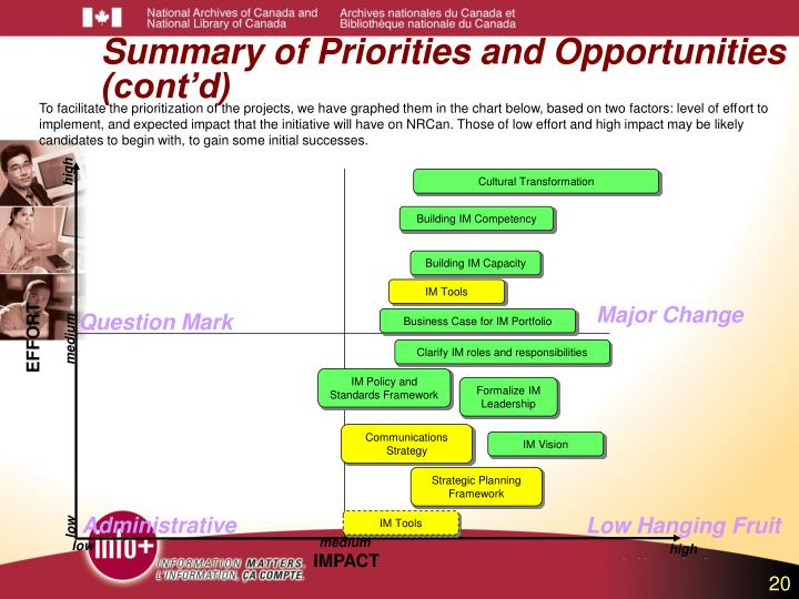 Summary of Priorities and Opportunities (cont'd)