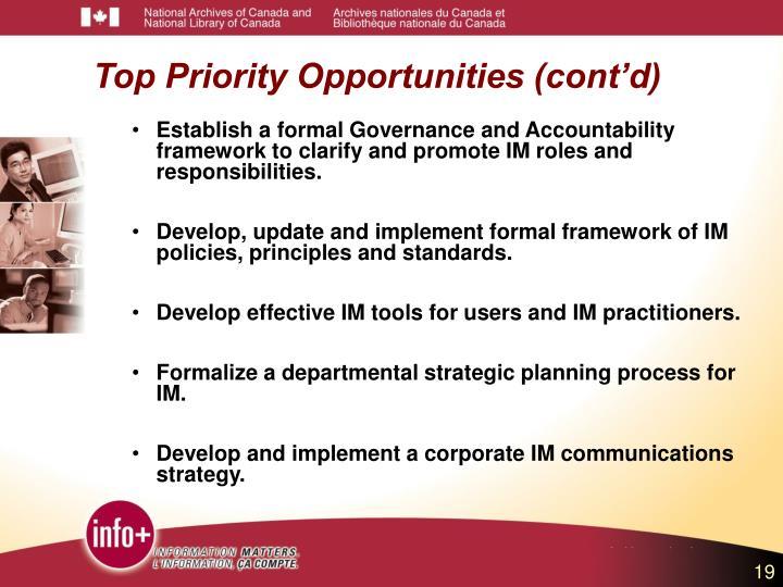 Top Priority Opportunities (cont'd)