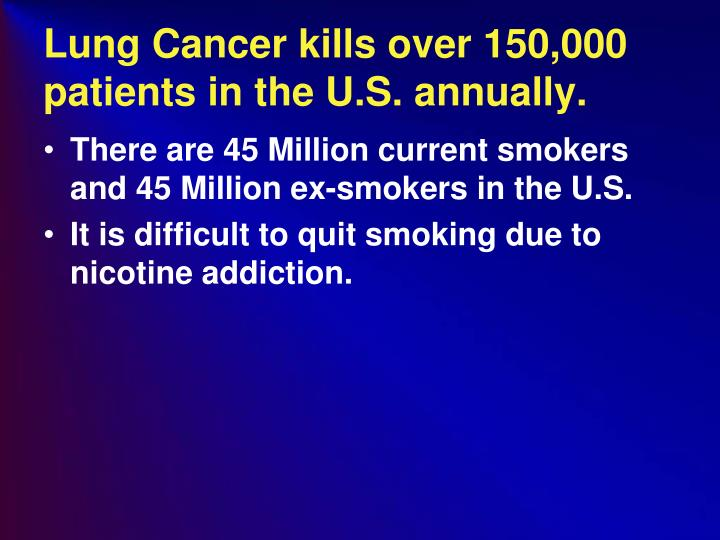 Lung Cancer kills over 150,000 patients in the U.S. annually.