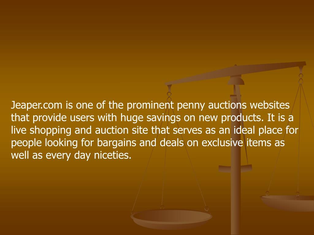 Jeaper.com is one of the prominent penny auctions websites that provide users with huge savings on new products. It is a live shopping and auction site that serves as an ideal place for people looking for bargains and deals on exclusive items as well as every day niceties.