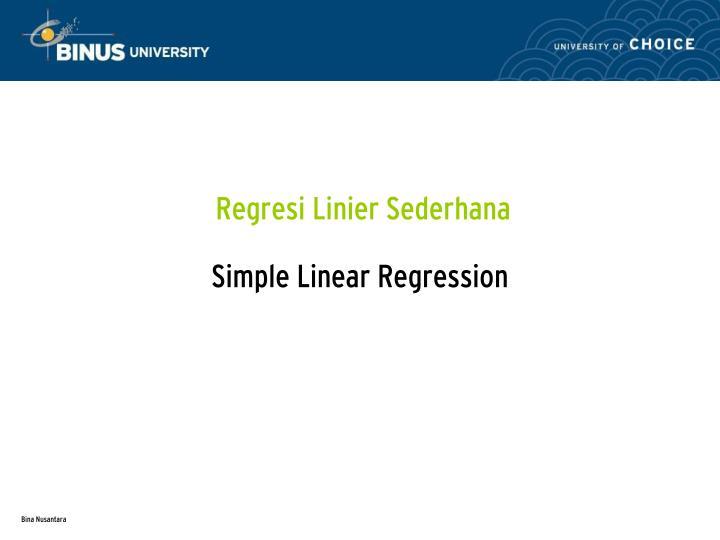 Regresi Linier Sederhana