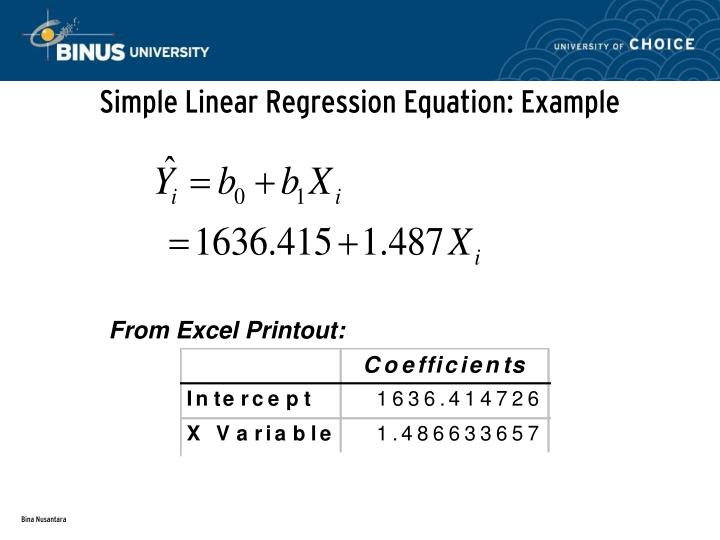 Simple Linear Regression Equation: Example