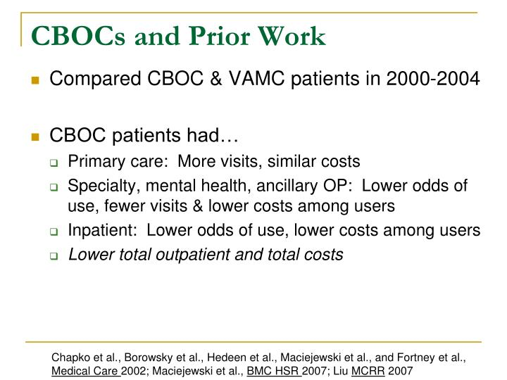CBOCs and Prior Work