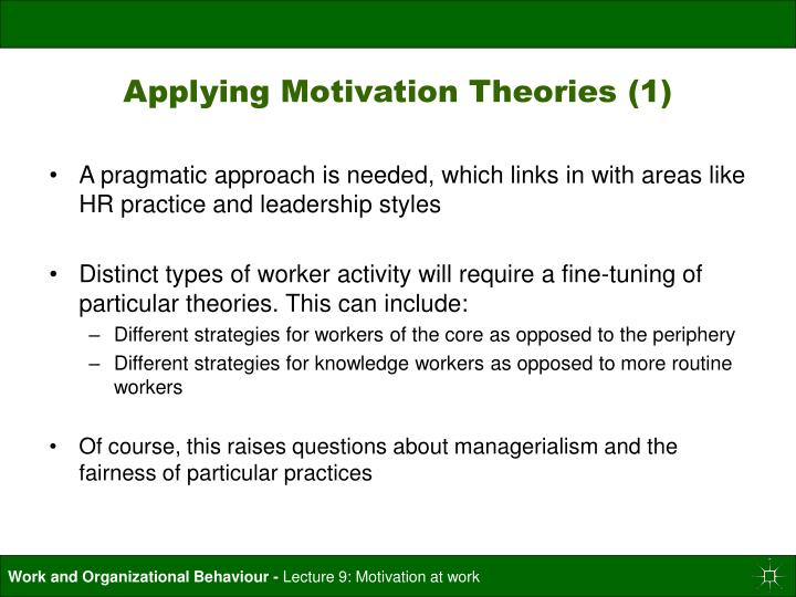 Applying Motivation Theories (1)