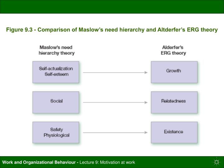 Figure 9.3 - Comparison of Maslow's need hierarchy and Altderfer's ERG theory