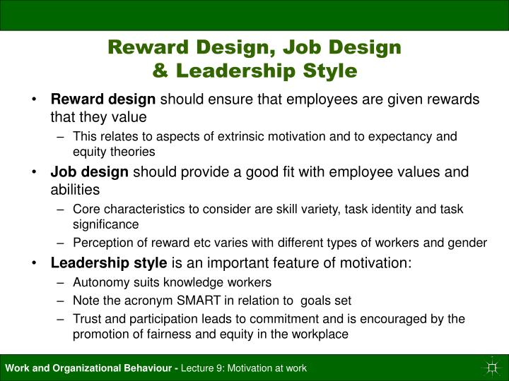 Reward Design, Job Design