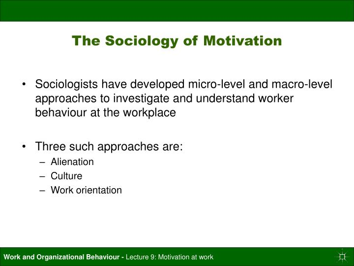 The Sociology of Motivation