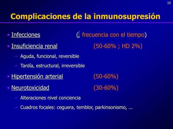 Complicaciones de la inmunosupresión