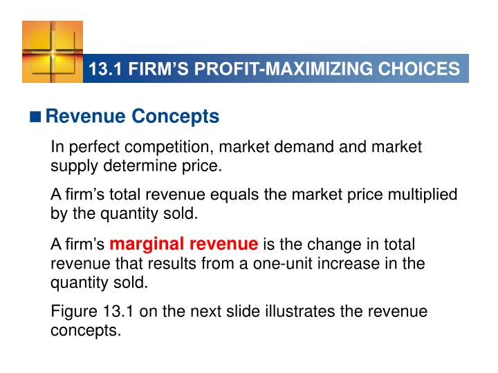 13.1 FIRM'S PROFIT-MAXIMIZING CHOICES