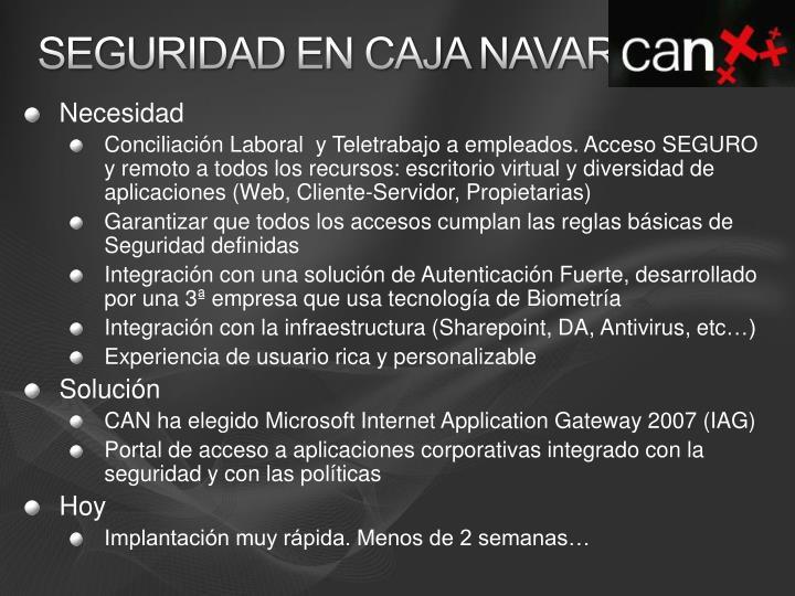 seguridad en Caja Navarra