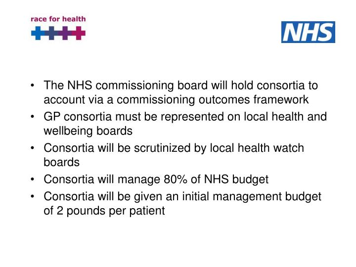 The NHS commissioning board will hold consortia to account via a commissioning outcomes framework