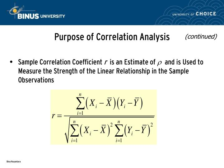 Purpose of Correlation Analysis