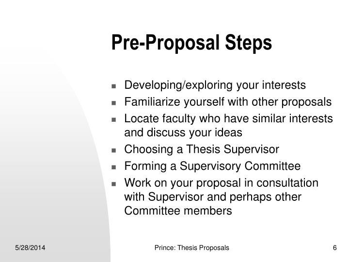 Pre-Proposal Steps