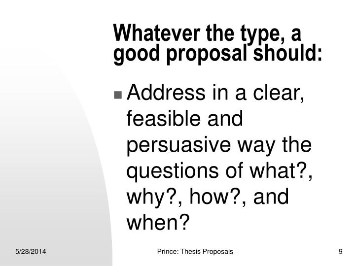 Whatever the type, a good proposal should: