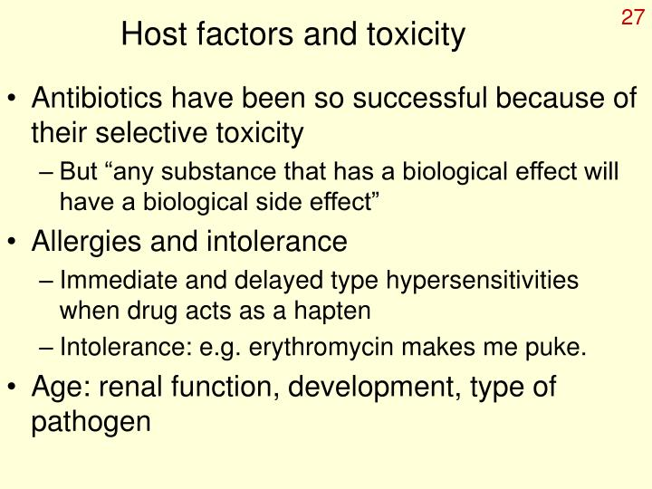 Host factors and toxicity
