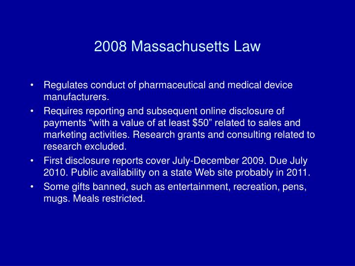 2008 Massachusetts Law