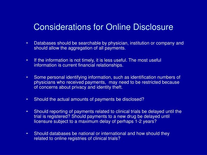 Considerations for Online Disclosure
