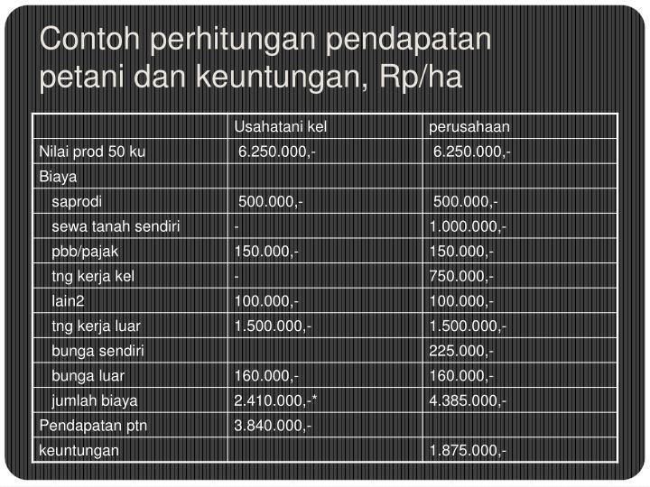 Contoh perhitungan pendapatan petani dan keuntungan, Rp/ha
