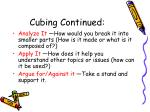 cubing continued