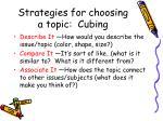 strategies for choosing a topic cubing