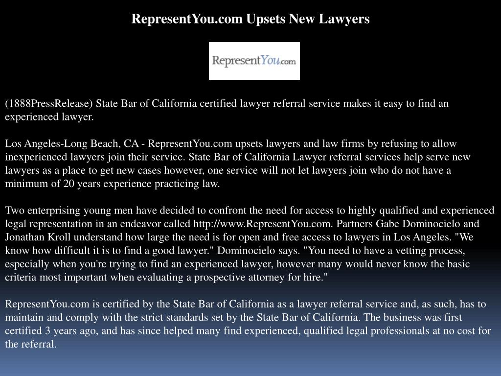 RepresentYou.com Upsets New Lawyers