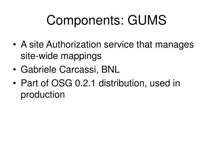 Components: GUMS