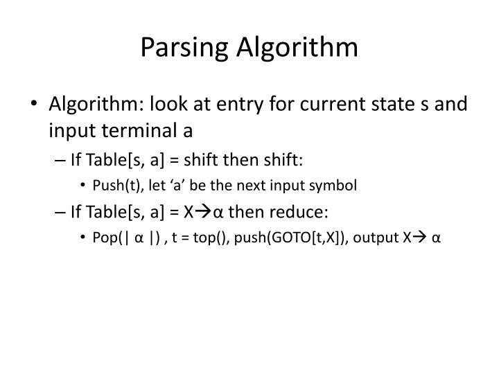 Parsing Algorithm