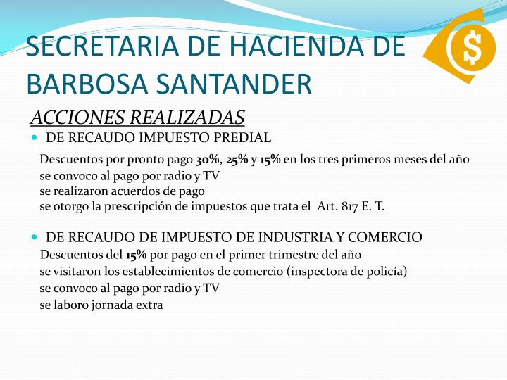 SECRETARIA DE HACIENDA DE BARBOSA SANTANDER
