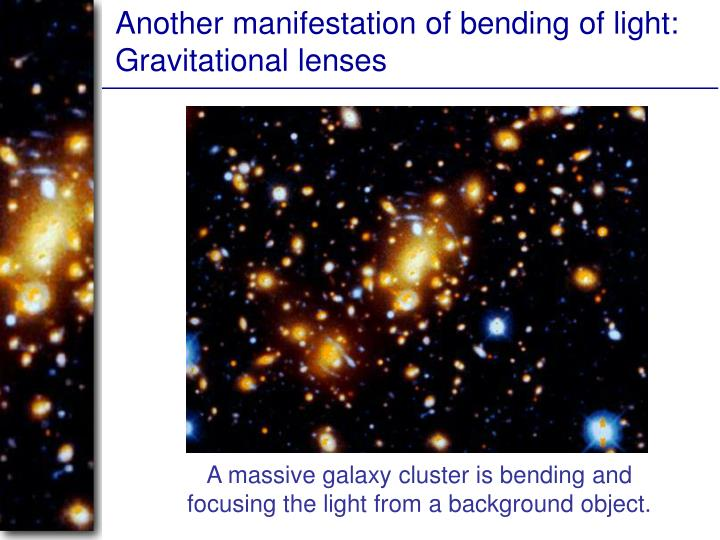 Another manifestation of bending of light: Gravitational lenses