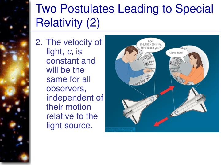 Two Postulates Leading to Special Relativity (2)