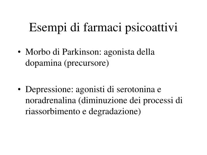 Esempi di farmaci psicoattivi