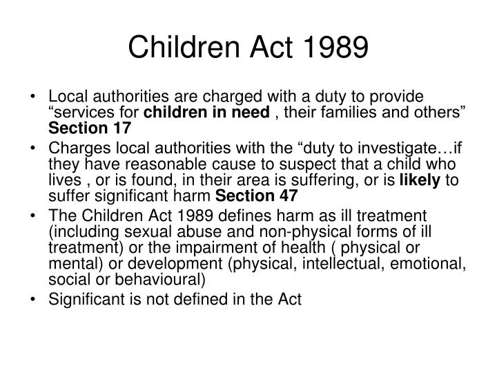 the children s act of 1989 objectives