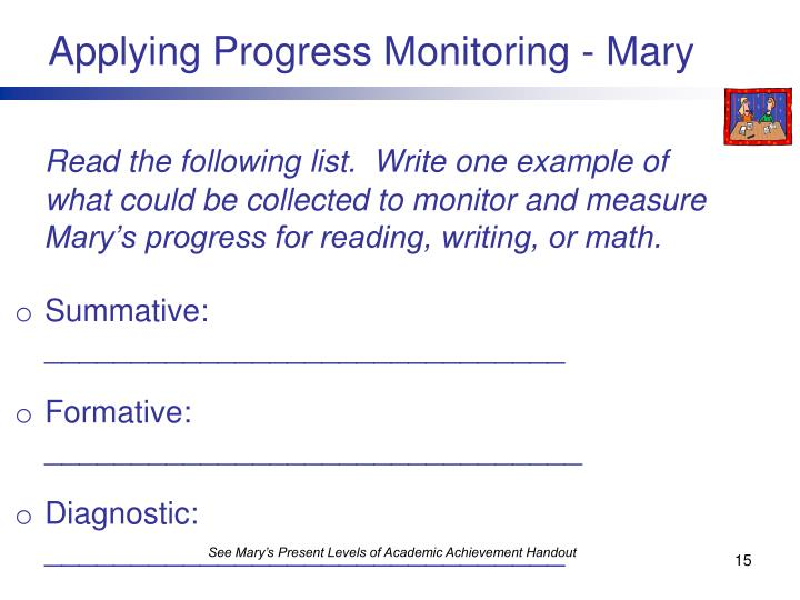 Applying Progress Monitoring - Mary