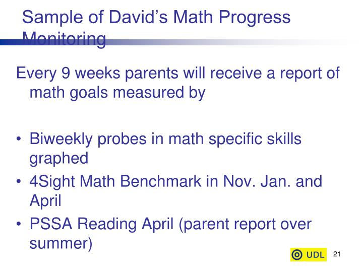 Sample of David's Math Progress Monitoring