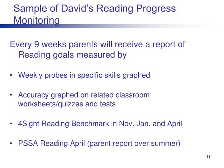 Sample of David's Reading Progress Monitoring