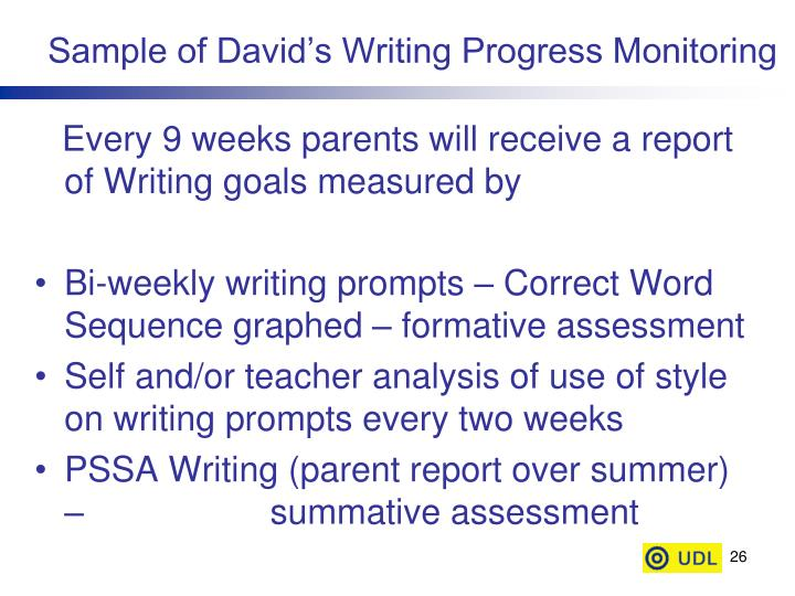 Sample of David's Writing Progress Monitoring