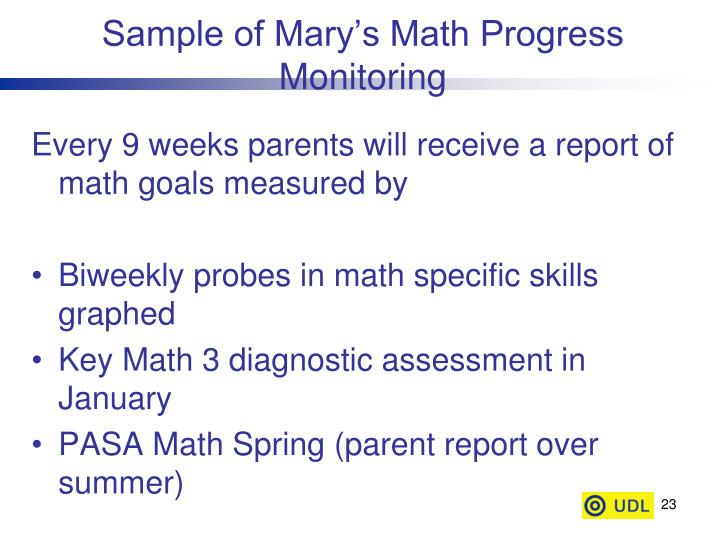 Sample of Mary's Math Progress Monitoring