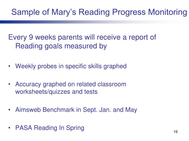 Sample of Mary's Reading Progress Monitoring