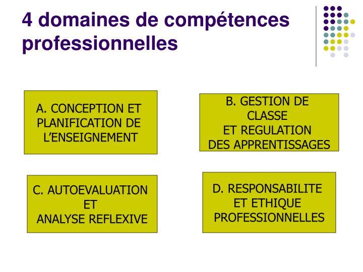 4 domaines de compétences professionnelles